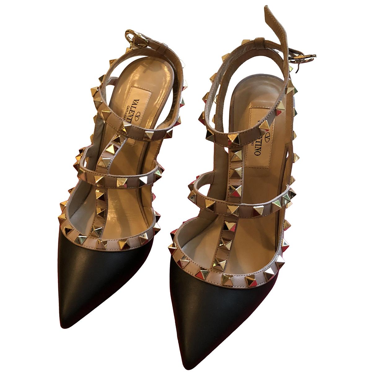 Valentino Garavani Rockstud Black Leather Heels for Women 36.5 EU
