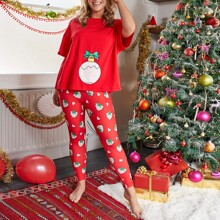 Plus Christmas Bell & Strawberry Print Top and Pants PJ Set