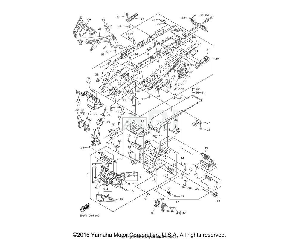 Yamaha OEM 8KW-21959-00-00 BRACKET, FRONT BUMPER