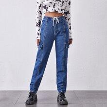Mom Jeans mit Kordelzug um die Taille, Klappe und seitlichen Taschen
