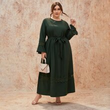 Plus Contrast Guipure Lace Belted Dress
