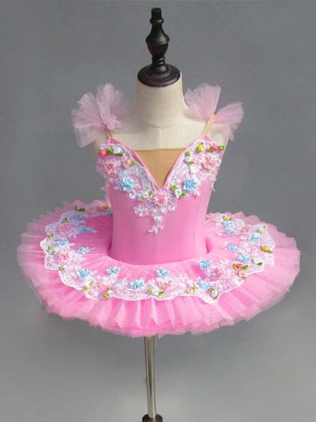 Milanoo Ballet Dance Costume Pink Lace Flowers Pleated Ballerina Dress