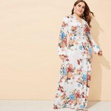 Plus Floral Print V-neck Dress