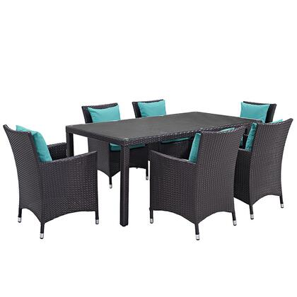 Convene Collection EEI-2199-EXP-TRQ-SET 7 PC Outdoor Patio Dining Set with Synthetic Rattan Weave Material  Powder Coated Aluminum Frame and