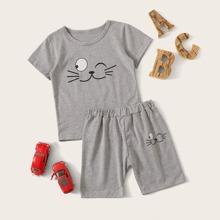 Kleinkind Jungen T-Shirt mit Karikatur Muster & Shorts