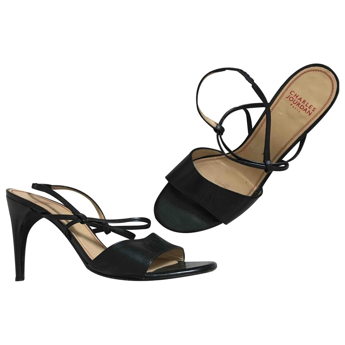 Charles Jourdan \N Black Leather Heels for Women 8.5 US