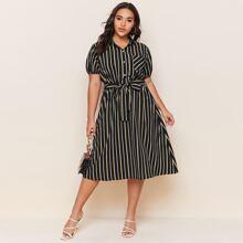 Plus Stripe Print Belted Dress