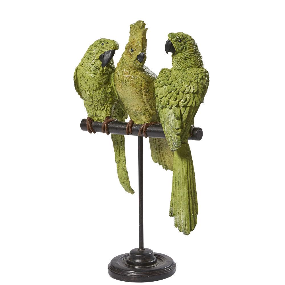 Figur Papageien, gruen und schwarzes Metall H50