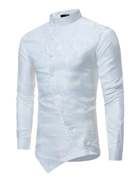 Milanoo Long Sleeve Shirt Jacquard Stand Collar Irregular Design Surplice Button Up Burgundy Men Casual Shirt