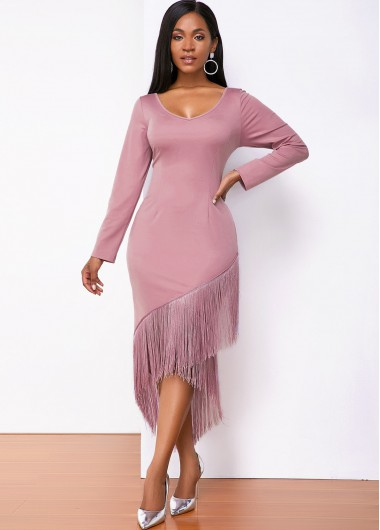 Cocktail Party Dress Long Sleeve Round Neck Tassel Hem Dress - M