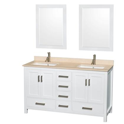 WCS141460DWHIVUNSM24 60 in. Double Bathroom Vanity in White  Ivory Marble Countertop  Undermount Square Sinks  and 24 in.