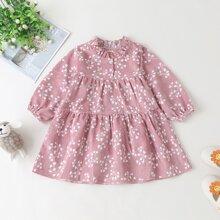 Kord Kleid mit Bluemchen Muster