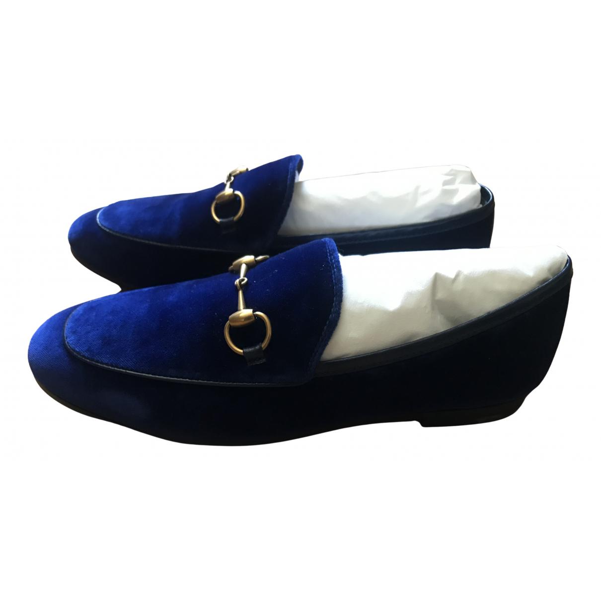 Gucci - Mocassins Jordaan pour femme en velours - bleu