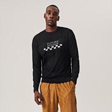 Pullover mit Buchstaben & Karo Muster