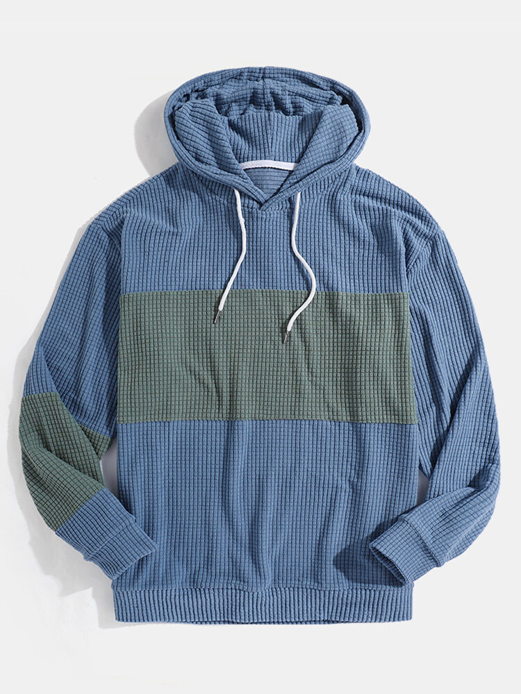 Mens Contrast Patchwork Jacquard Relaxed Fit Drawstring Hoodies