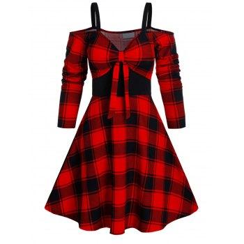 Plaid Print Cold Shoulder Knotted Flare Dress