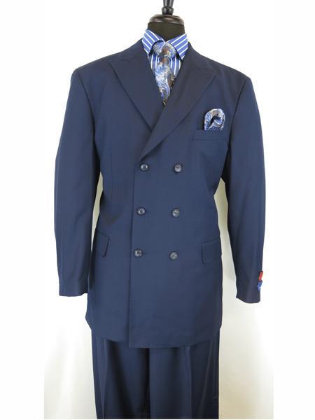 Mens Button Closure Peak Lapel Navy Blue Double Breasted Suit