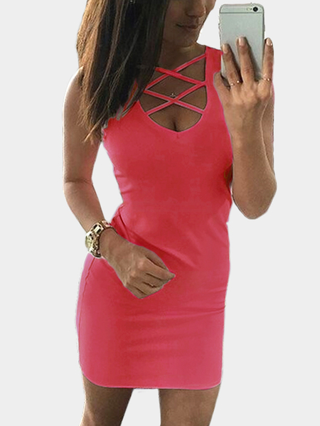 Yoins Red Lace-up Design Sleeveless Sexy Dress