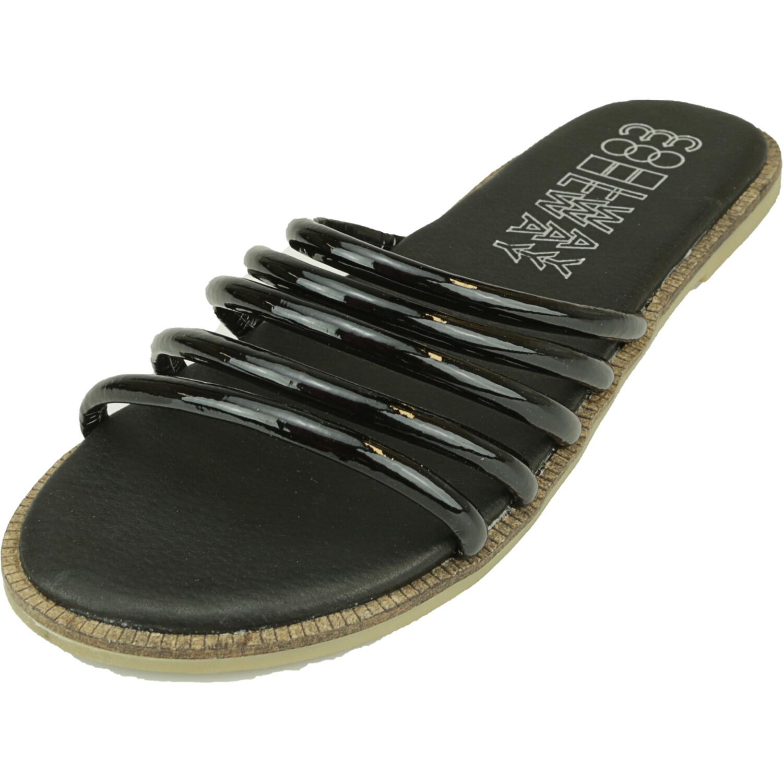 Coolway Women's Meryl Black Leather Sandal - 8.5M