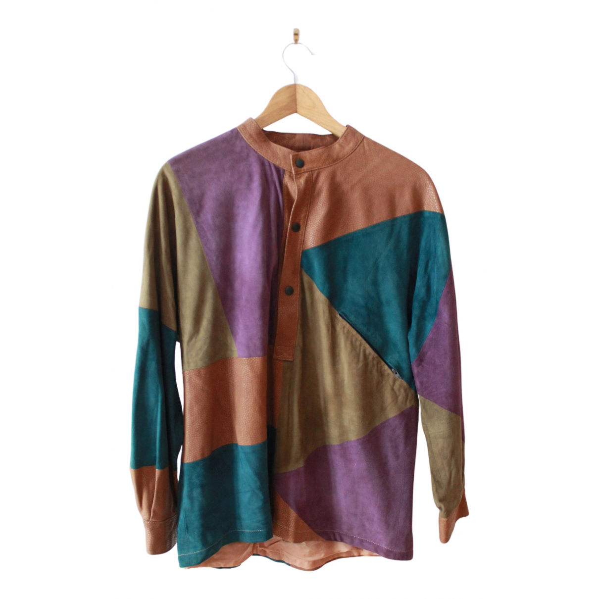 Non Signé / Unsigned Oversize Multicolour Suede Leather jacket for Women M International