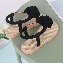 Toddler Girls Floral Appliques Slingback Sandals