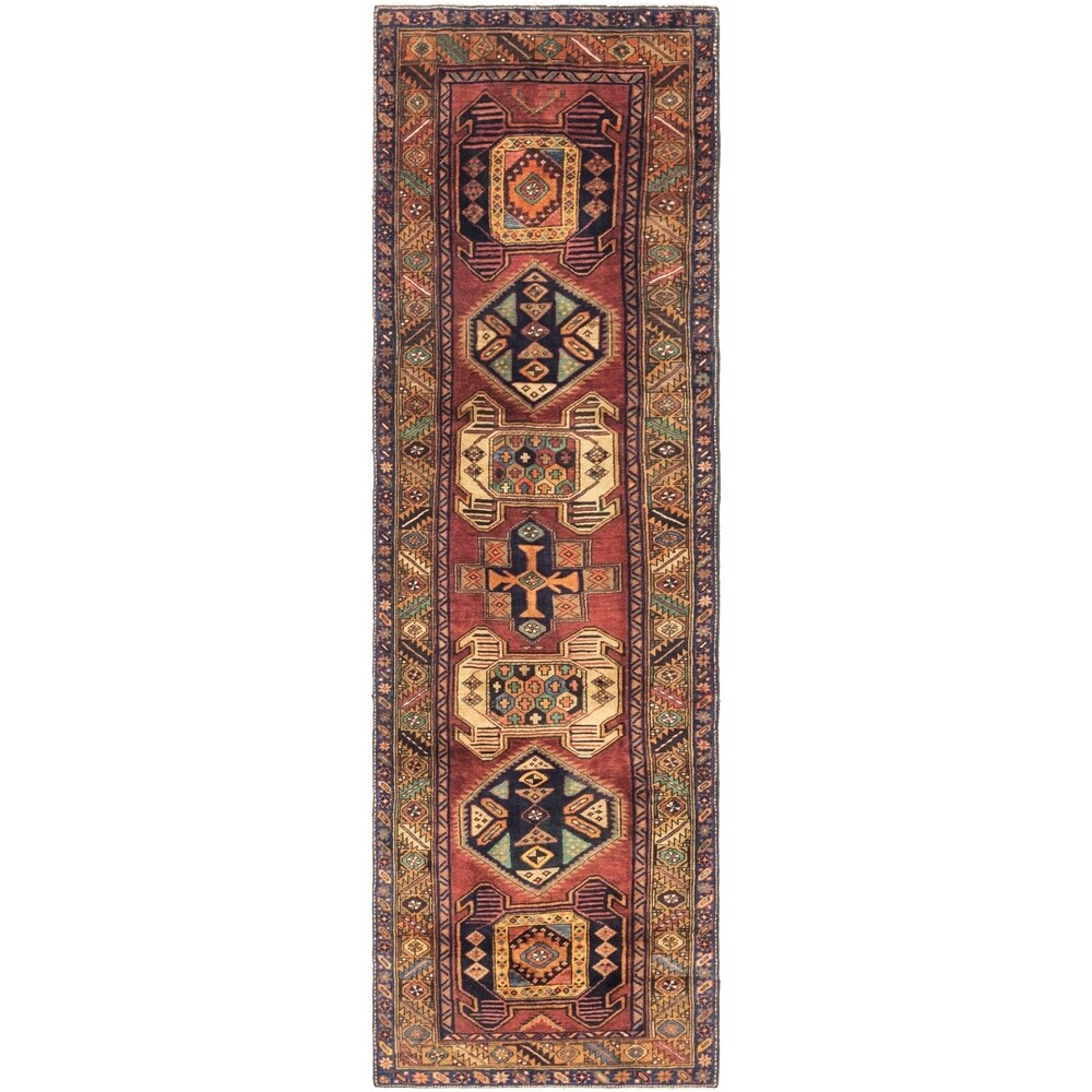 Hand Knotted Shahsavand Wool Runner Rug - 3' 8 x 12' 10 (Rust Red - 3' 8 x 12' 10)