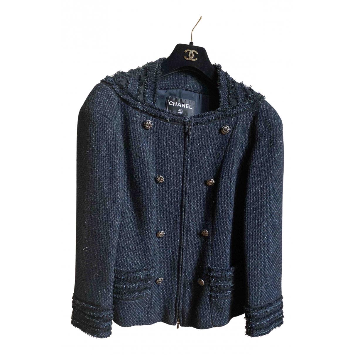 Chanel \N Jacke in  Blau Tweed