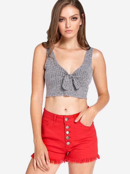 Yoins Grey Bowknot Plain V-neck Sleeveless Crop Top