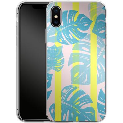 Apple iPhone X Silikon Handyhuelle - Linocut Monstera Neon von Bianca Green