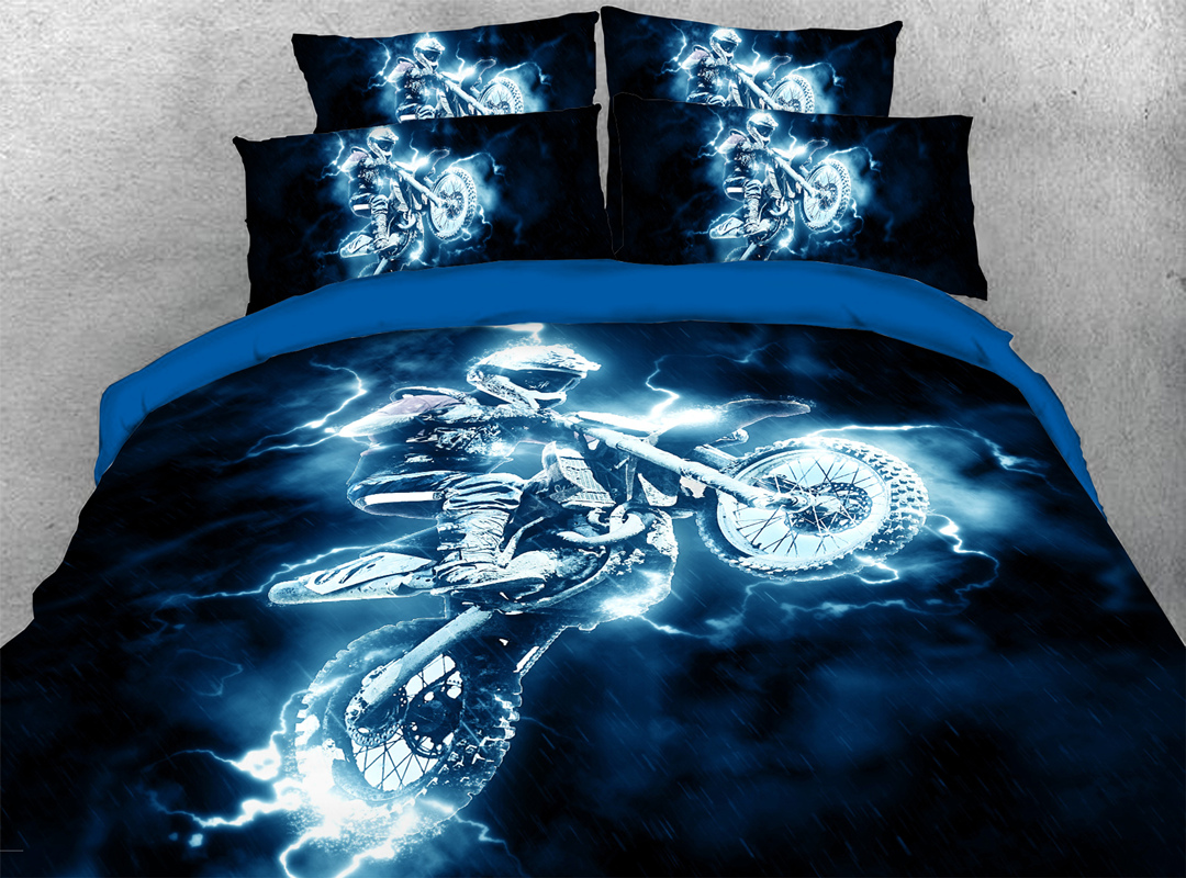 Motorcycling 3D Sports Bedding 4Pcs Soft Durable Duvet Cover Set with Zipper Ties