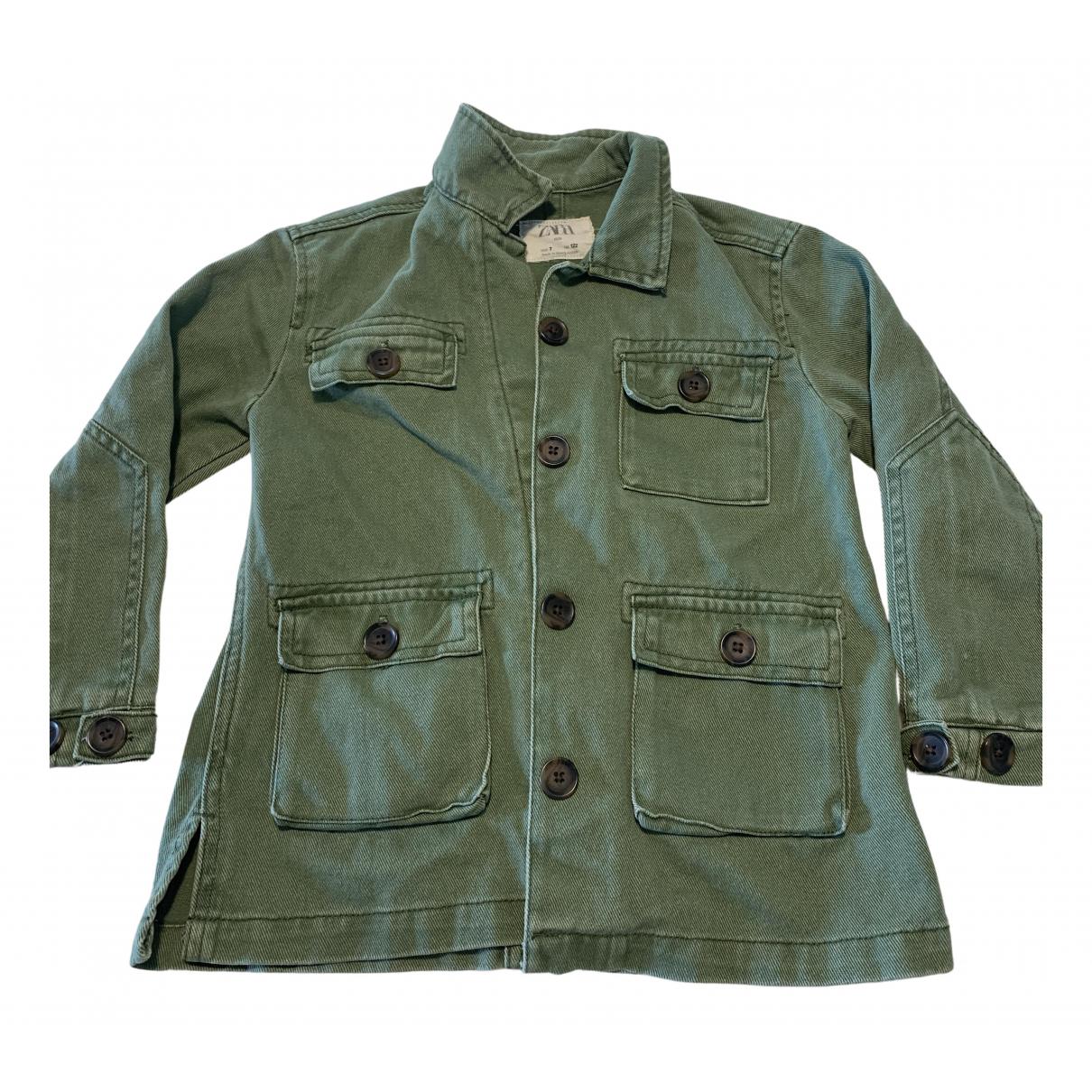 Zara - Pull   pour enfant en coton - vert