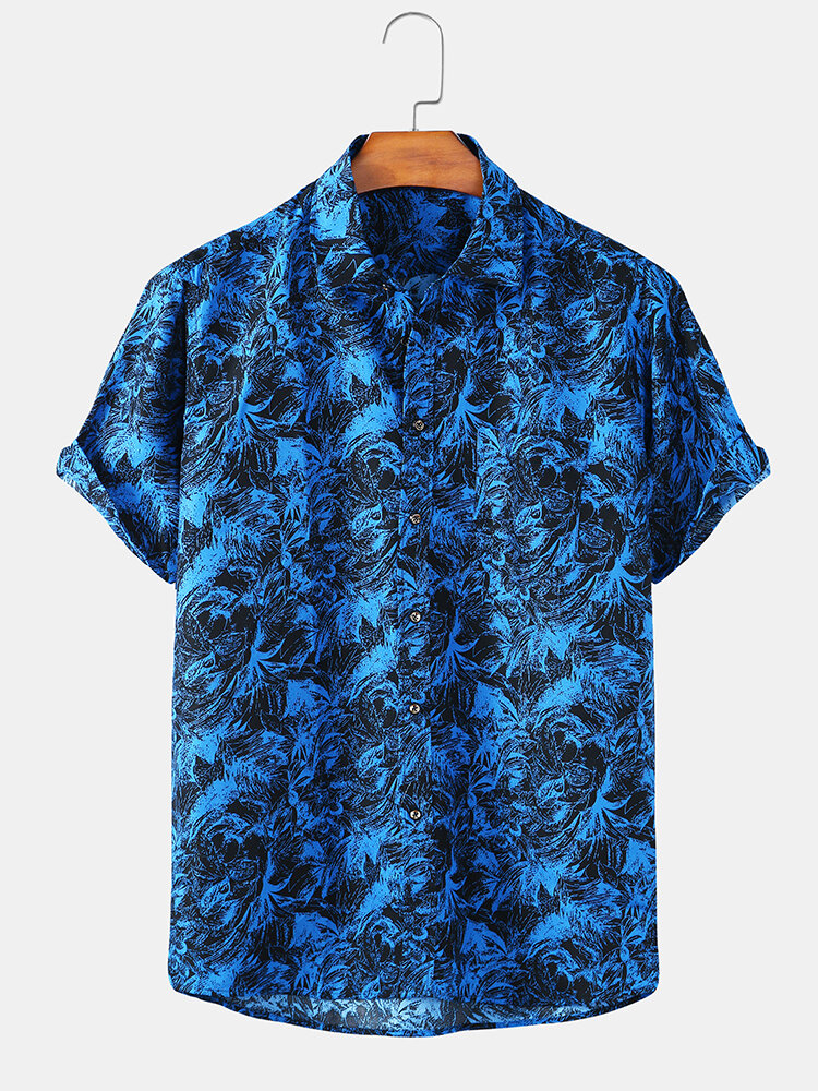 Mens Floral Printed Light Casual Short Sleeve Shirts With Pocket