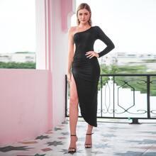 Double Crazy Kleid mit einer Schulter, asymmetrischem Saum und Ausschnitt