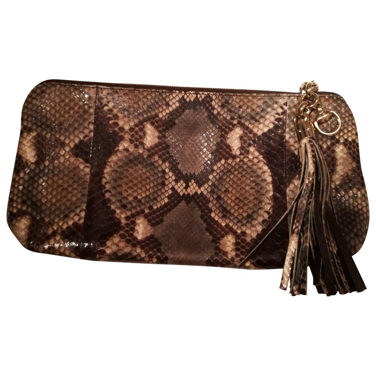 Gucci \N Khaki Python Clutch bag for Women \N