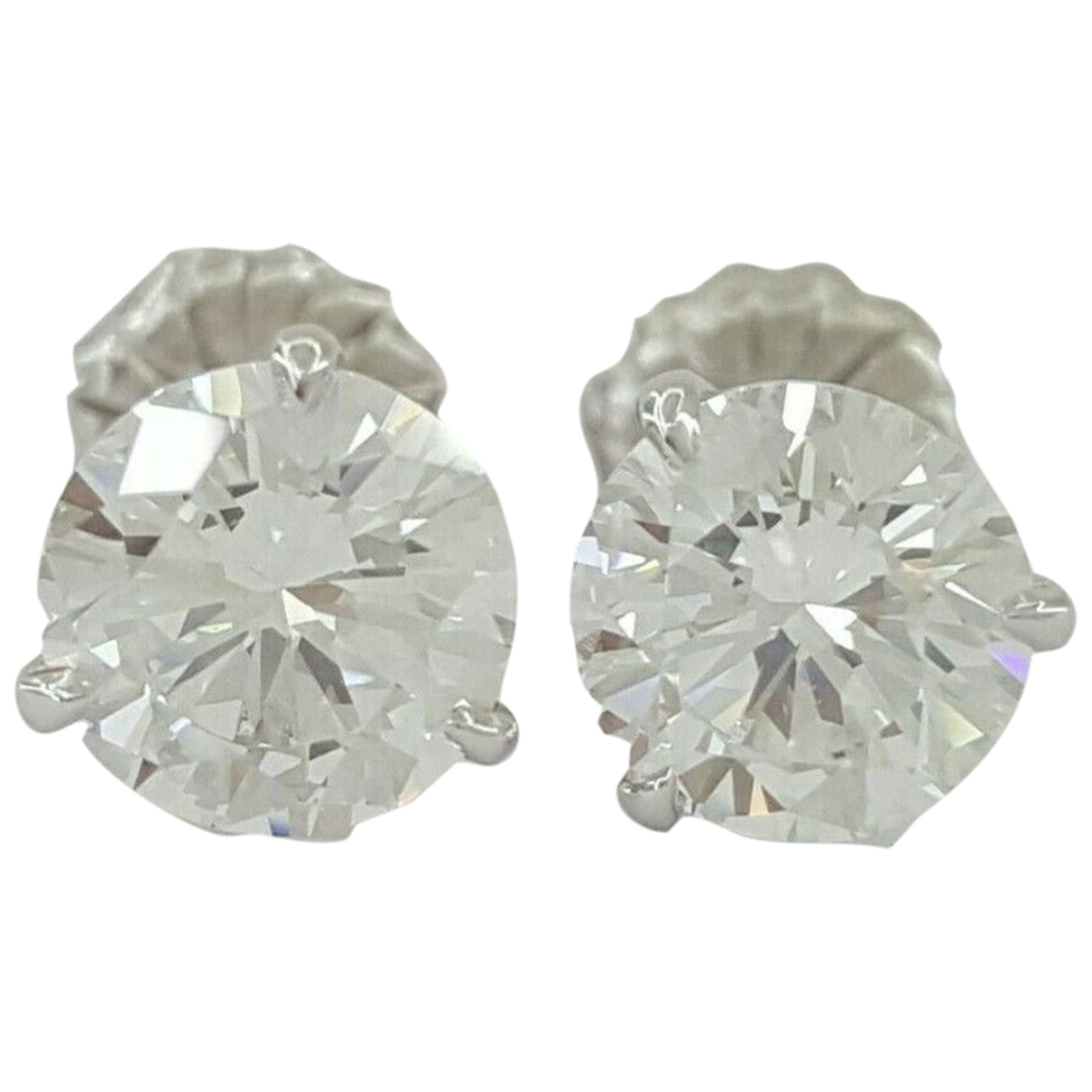 - Boucles doreilles Puces en diamants pour femme en or blanc - blanc