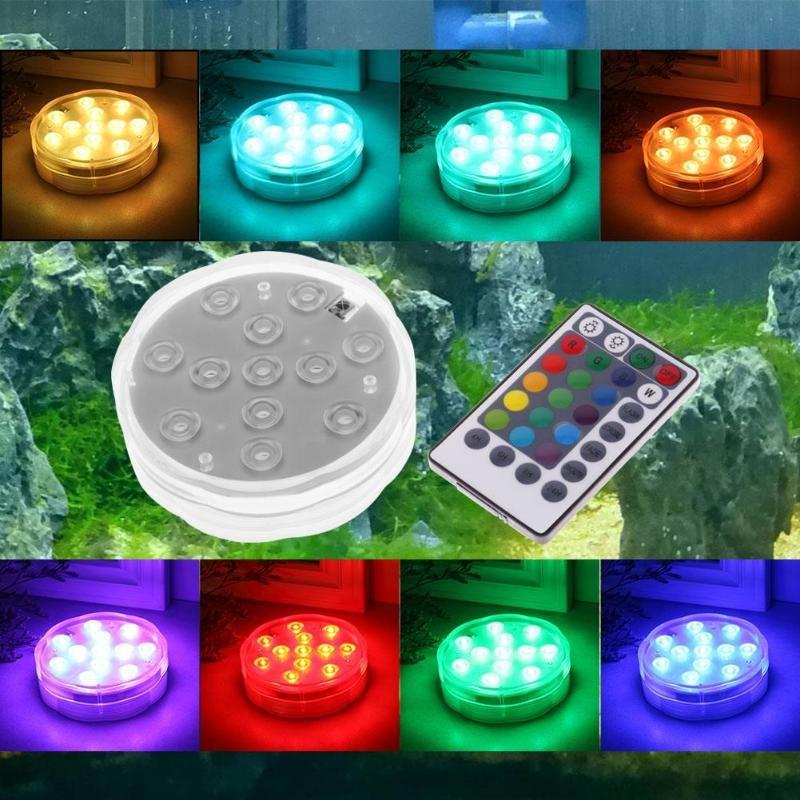12 LED RGB Submersible Light Underwater Waterproof Night Lamp Water Fountain Fish Tank Garden Decor