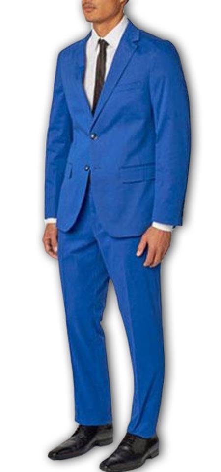 Men's  Notch Lapel 100% Cotton Double Vent French Blue Two Piece Suit