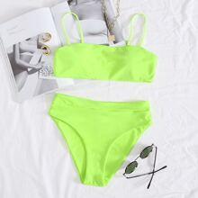 Neon Lime Bikini Badeanzug mit hoher Taille