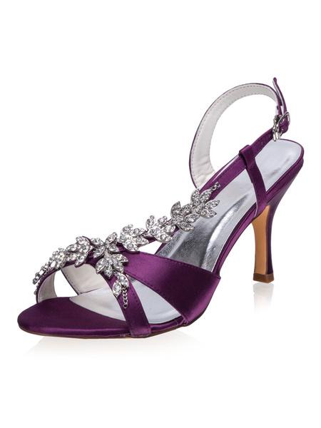 Milanoo Zapatos de novia de saten Zapatos de Fiesta de tacon de stiletto Zapatos morado Zapatos de boda de puntera abierta 8cm con pedreria