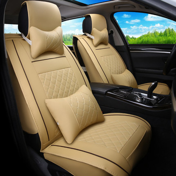 5 Seats Durable Waterproof Wear-Resistant Classic Business Style Plaid with Trims Design Universal Car Seat Cover