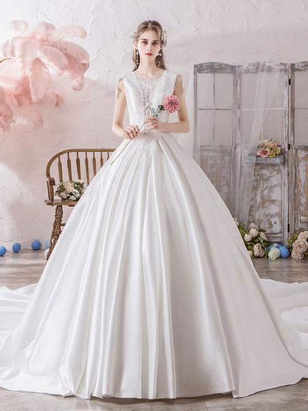 Milanoo Wedding Dress Princess Silhouette Illusion Neckline Sleeveless Natural Waist Cathedral Train Bridal Gowns