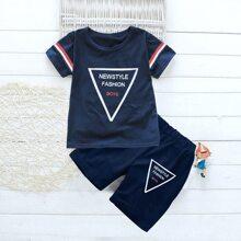 Kleinkind Jungen T-Shirt mit Streifen & Buchstaben Grafik und Shorts