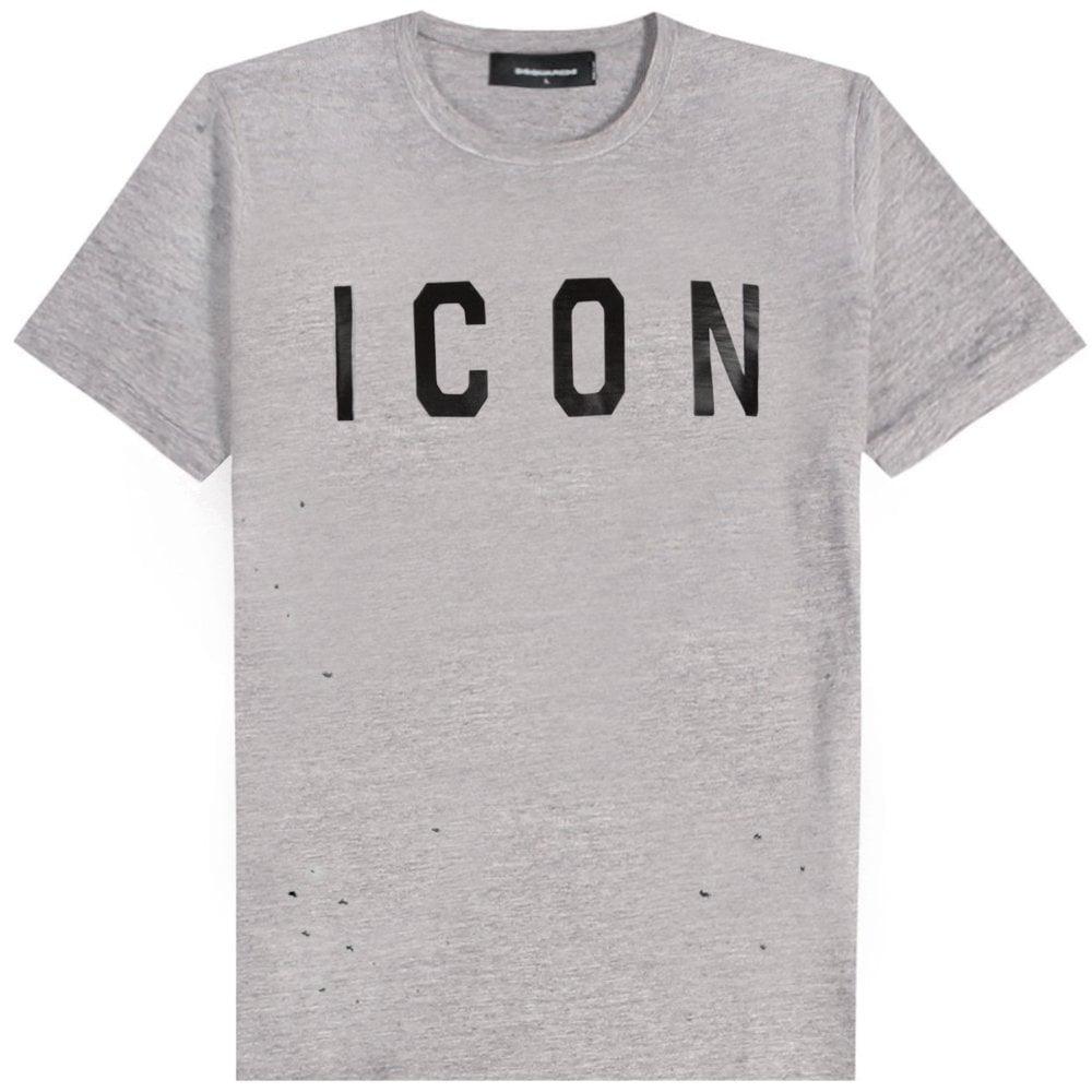 DSquared2 ICON Logo T-Shirt Colour: GREY, Size: EXTRA EXTRA LARGE