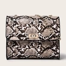 Snakeskin Chain Crossbody Bag