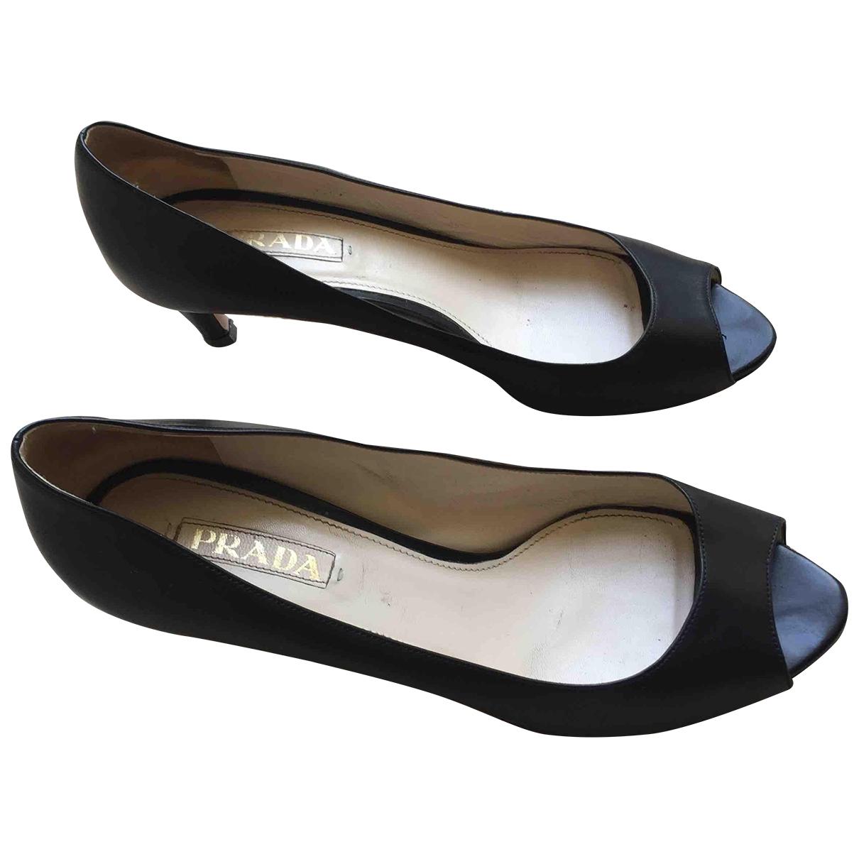 Prada \N Black Leather Heels for Women 41 EU