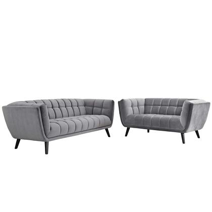 Bestow Collection EEI-2979-GRY-SET 2 PC Sofa and Loveseat Living Room Set with Black Wood Tapered Legs  Non-Marking Foot Caps  Dense Foam Padding