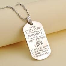 Maenner Slogan Grafik Charm Halskette