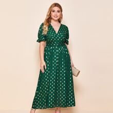 Plus Ruched Bust O-ring Belted Gold Dot Print Dress