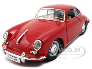 1961 Porsche 356 B Coupe Red 1/24 Diecast Model Car by Bburago