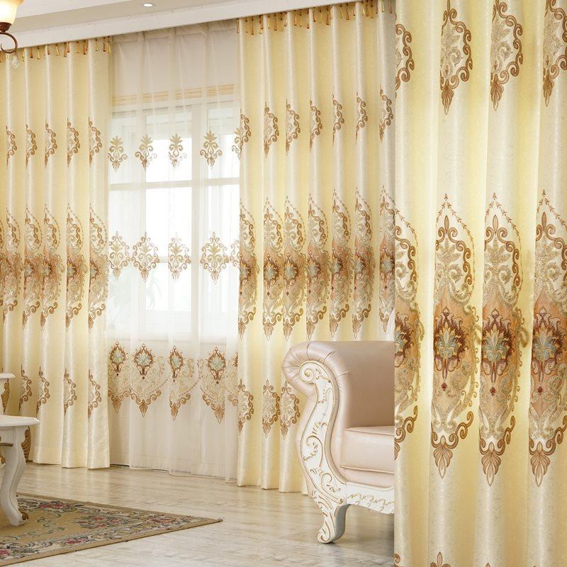European Style Elegant Beige High-Quality 2 Panels Decorative Curtains